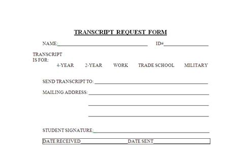 high school transcript request template high school transcript request form template images