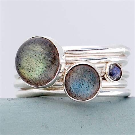 Handmade Ring Designs - sterling silver and labradorite stacking rings by