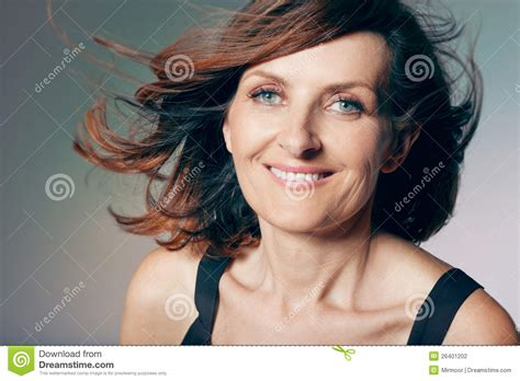 hcurly hairstyles middke aged women happy middle aged woman with curly hair stock photography