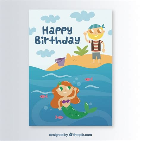 mermaid birthday card template mermaid vectors photos and psd files free