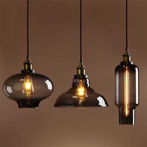 vintage industrial pendant lighting retro vintage industrial smokey glass shade loft pendant