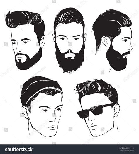 Set Hipster Fashion Man Beard Mustache Stock Vector
