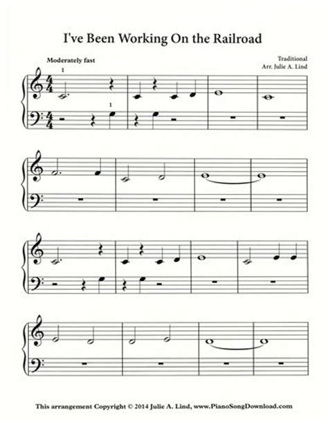 printable lyrics to i ve been working on the railroad 111 best images about free piano sheet music on pinterest