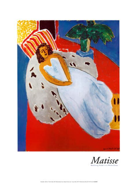 Reclining Matisse by Reclining In A White Dress Henri Matisse Poster
