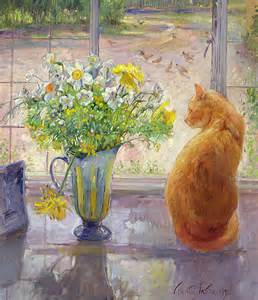 Window Curtain For Shower Striped Jug With Spring Flowers Painting By Timothy Easton