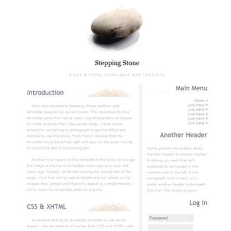 stepping stone template free website templates in css