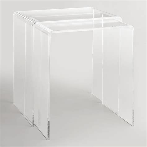 market nesting tables clear acrylic thad nesting tables set of 2 market