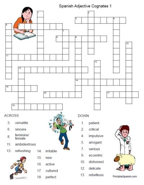 easy spanish crossword puzzles printable spanish adjective cognates crossword 1 free from