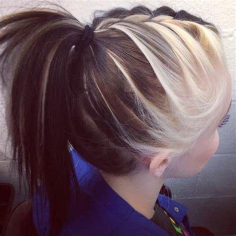 Two Tone Hairstyles by Braided Ponytail With Two Toned Hair Hairstyles For