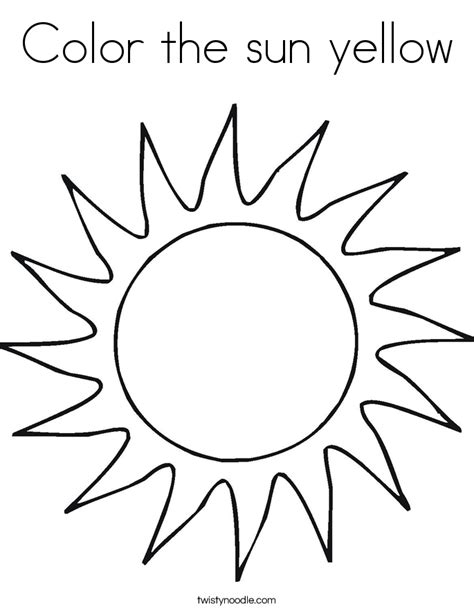 Coloring Pages Sun color the sun yellow coloring page twisty noodle