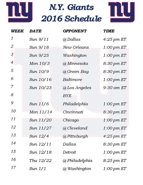 printable giants schedule printable 2016 new york giants schedule draft news