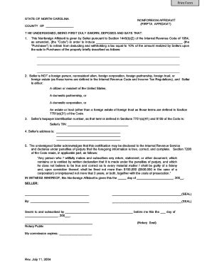 section 1445 affidavit state of nc firpta affidavit fill online printable