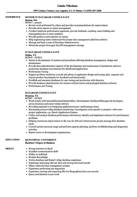 Database Consultant by Database Consultant Resume Sles Velvet