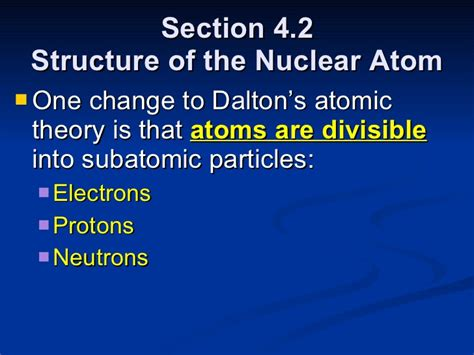 section 4 2 the structure of an atom chemistry chp 4 atomic structure powerpoint