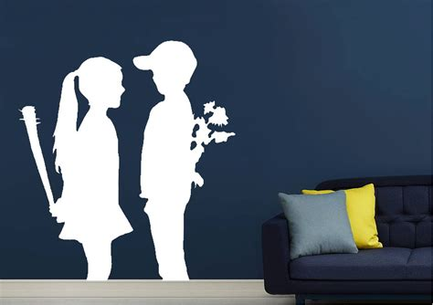 love war kids banksy wall stickers adhesive wall sticker