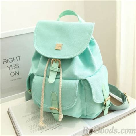 Relaxa Mint Bag Pack Of 3 sweet canvas college rucksack mint green color backpack fashion backpacks