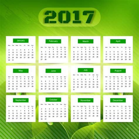 Calendã Dezembro De 2017 Green 2017 Calendar Vector Free