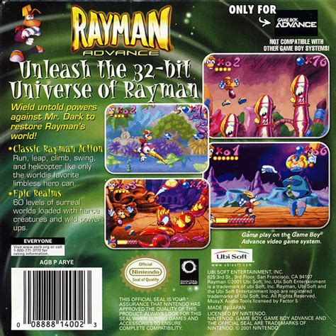Ramen Cihelas rayman advance box for boy advance gamefaqs