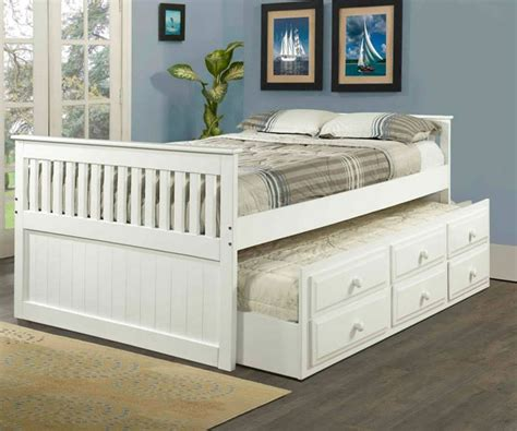 White Trundle Bed by Mission Size Captains Trundle Bed White Bedroom
