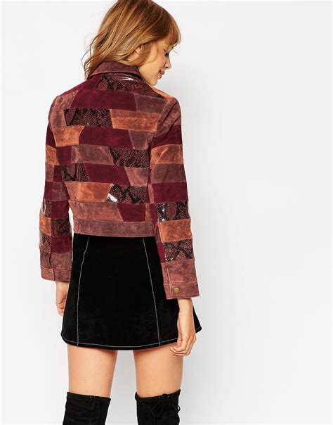 Patchwork Jacket - asos jacket in patchwork leather in multicolor multi lyst