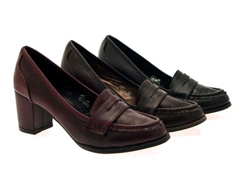 WOMENS LOW BLOCK HEELS WORK LOAFER FULL TOE COURT SHOES