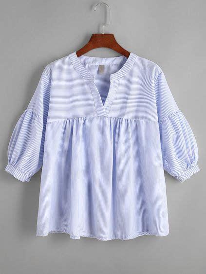 Pinstriped Blouse pinstriped pleated hem v neck blouse t shirts