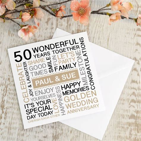 Personalised Wedding Anniversary Cards Uk by Personalised Golden Wedding Anniversary Card