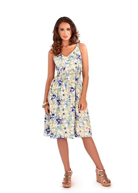 24042 White Summer V Neck womens dress v neck floral summer dress mid length