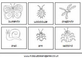 minibeasts colouring sheets kids puzzles games