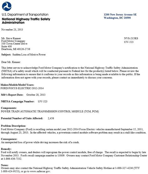 Sle Letter For Product Recall Focus Recall Notices Html Autos Post