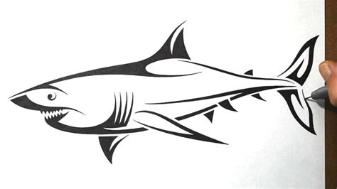 great white shark tribal tattoo how to draw a shark tribal design style