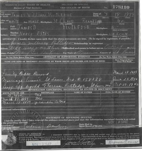 St Louis Missouri Birth Records William And Rubina Mae Rutledge