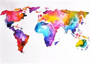 Wall Stickers World Map quot rainbow world map quot by artcornershop redbubble