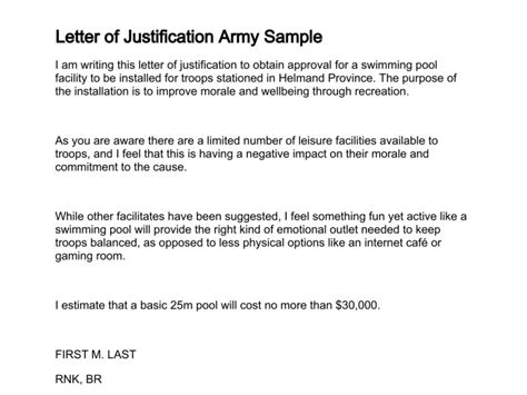 Navy Justification Letter Letter Of Justification