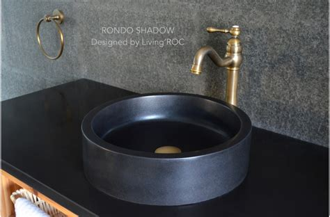 Oval Bathroom Sinks 400mm Round Black Basalt Stone Bathroom Basin Rondo Dark