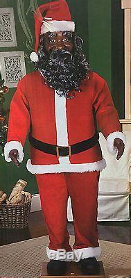 life size animated dancing african american black santa claus  gemmy