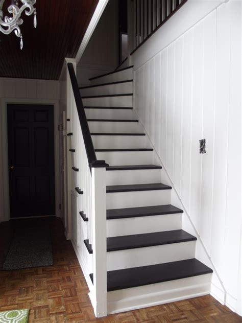 Stairs Without Banister Remodelaholic Black And White Painted Staircase