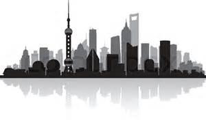 Modern Box House Shanghai China Stadt Skyline Silhouette Vektorgrafik