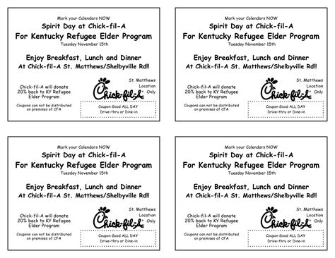 Louisville Refugee Elder Program Eat Out For Us Chick Fil A Fil A Flyer Template