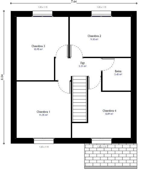 plan 騁age 3 chambres plan maison individuelle 4 chambres 99 habitat concept
