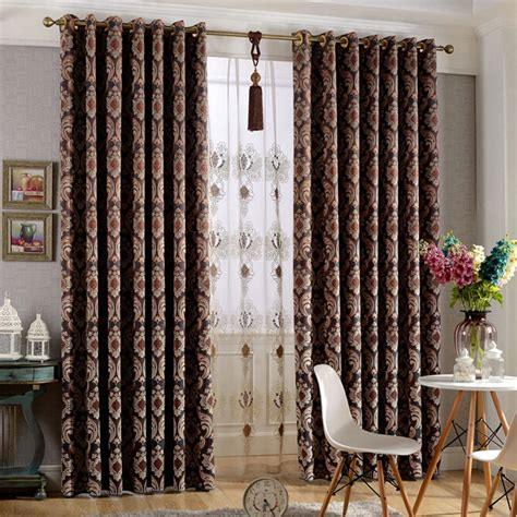 Patterned Blackout Curtains Thick Suede Floral Patterned Embossed Blackout Curtains
