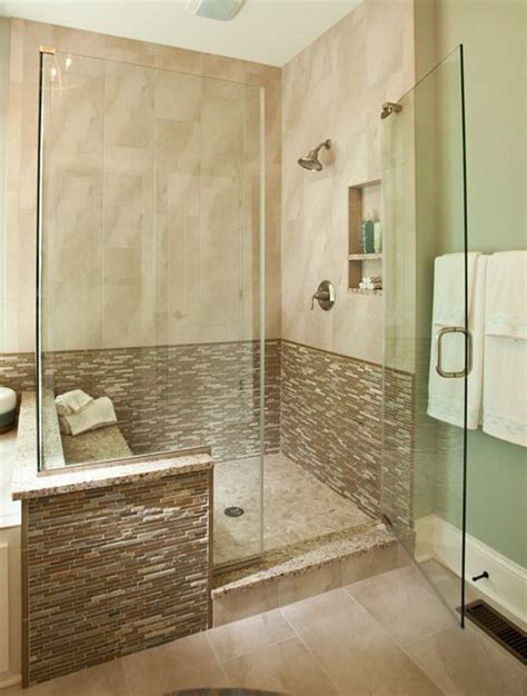 modern walk in shower inside the new custom model home by