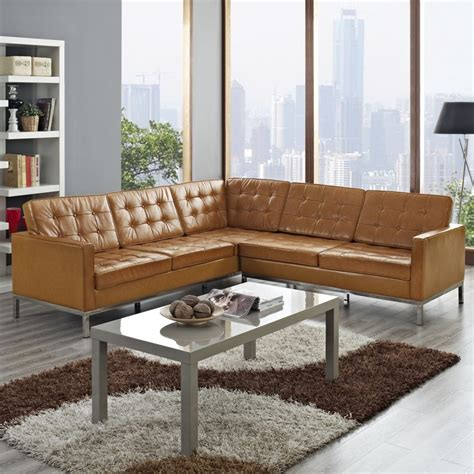 Tables For Sectional Sofas Rustic Light Brown Leather Tufted Sleeper Sofa With Rectangle Gray Stained Wooden Coffee Table