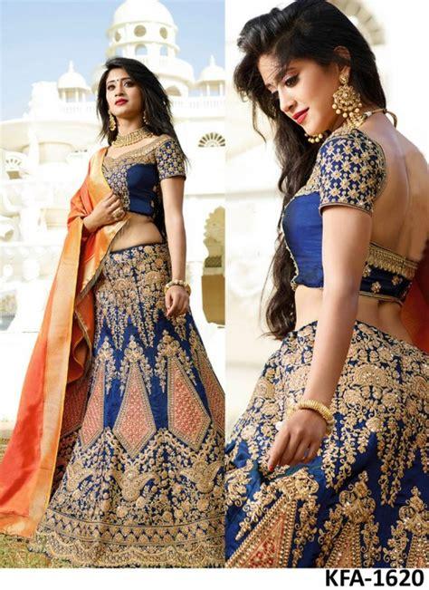 Dress Nayra nayra satin silk blue lehenga choli