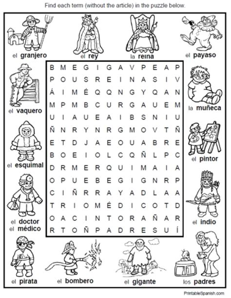 printable word search jobs spanish vocabulary worksheet people jobs professions word