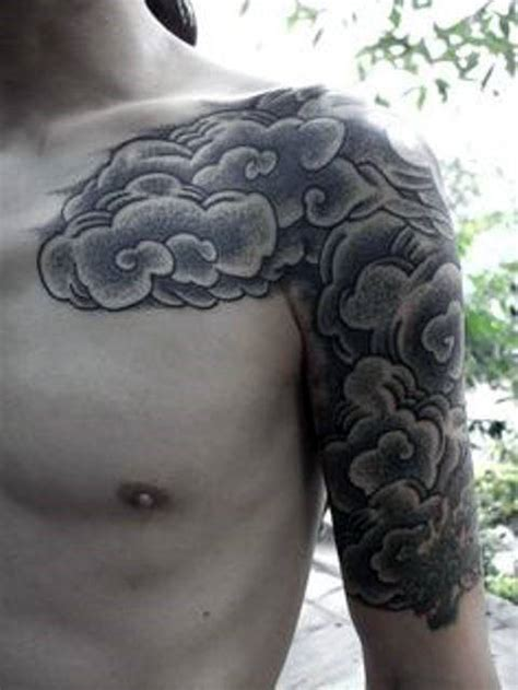 cloud tattoo quarter sleeve 50 cloud chest tattoos for men blue sky ink design ideas