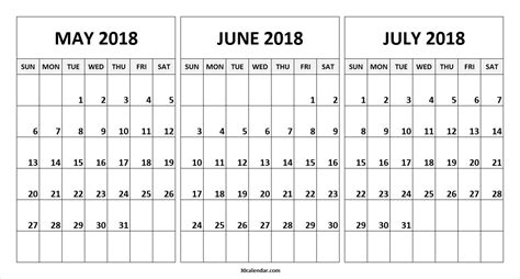 printable calendar june july august 2018 may june july calendar 2018 larissanaestrada com