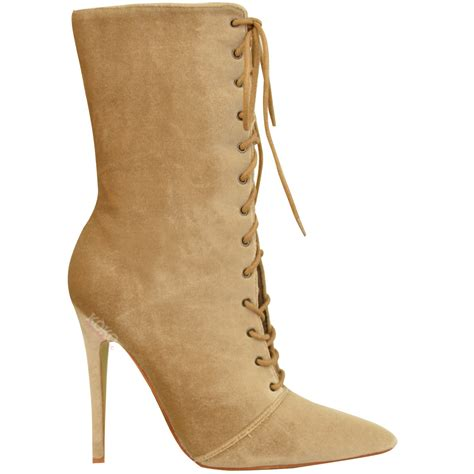 lace high heel boots womens lace up stretchy high heel stiletto ankle