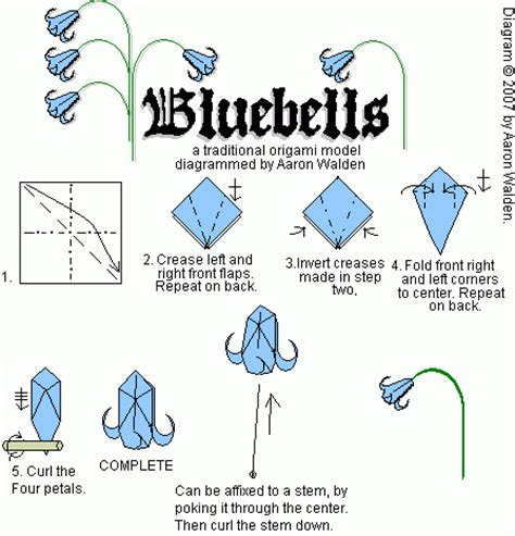 Origami Flowers Diagrams - bluebell origami diagram for flower origami