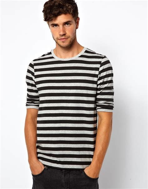 S S T Shirt With Stripe asos stripe 3 4 sleeve t shirt in gray for lyst